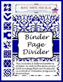 Blue Binder Cover or Page Dividers