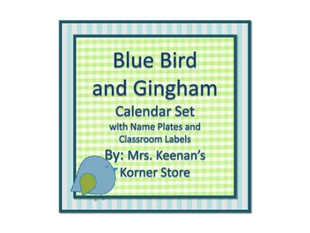 Blue Bird and Gingham Calendar Set with Name Plates and Cl