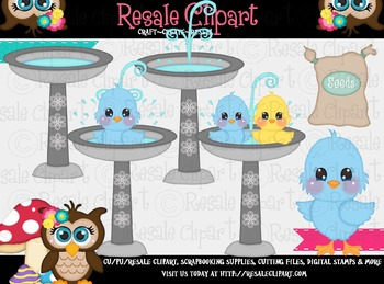 Blue Birds Bathing ClipArt - Commercial Use