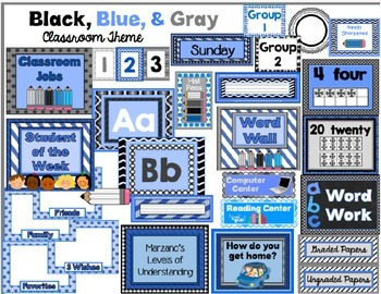 Blue, Black, & Gray Themed Classroom Resources for Back to