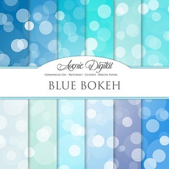 Blue Bokeh Digital Paper spotty sparkle light circles scra