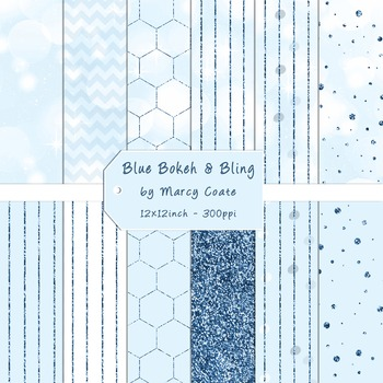 Blue Bokeh & Glitter Digital Papers