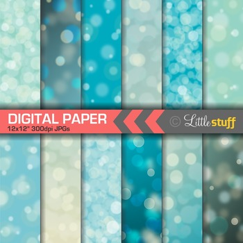 Blue Bokeh Paper Digital Papers, Dreamy Blue Digital Backgrounds