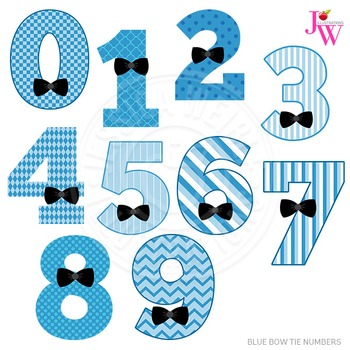 Blue Bow Tie Numbers Cute Digital Clipart, Boy Number Graphics