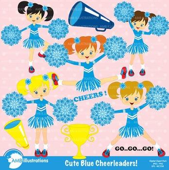 Clipart, Cheerleader clipart, Blue Cheerleaders clip art, AMB-203