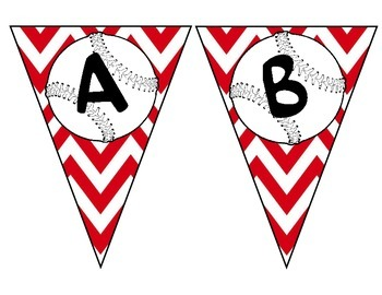 Red Chevron Baseball Pennant Alphabet