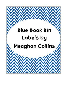 Blue Chevron Book Bin Labels