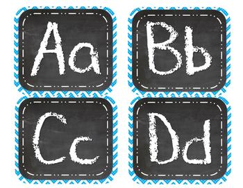 Blue Chevron Chalk Alphabet