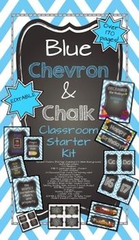 Blue Chevron & Chalk {EDITABLE Classroom Starter Kit} Back