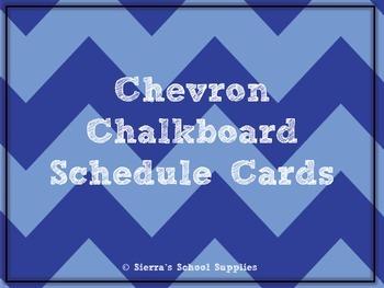 Blue Chevron Chalkboard Schedule Cards