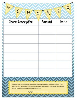 Blue Chevron Chore Chart