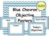 Blue Chevron Daily Objective Subject Posters - Make Into D