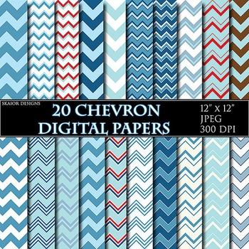 Blue Chevron Digital Papers Geometric Background Zigzag Pr