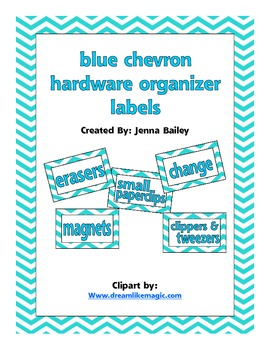 Blue Chevron Teacher Toolbox Labels