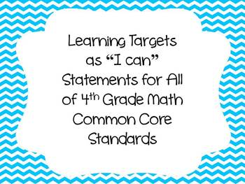 "Blue Chevron Learning Target ""I can"" Statements-4th Grade"