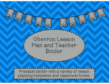 Blue Chevron Teacher Binder