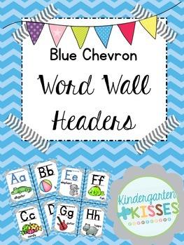 Blue Chevron Word Wall Headers