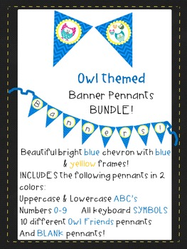 Blue Chevron with Yellow&Blue Owls Pennants ABC'S 123 AllS
