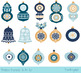 Blue Christmas tree ornaments clipart collection, Christma