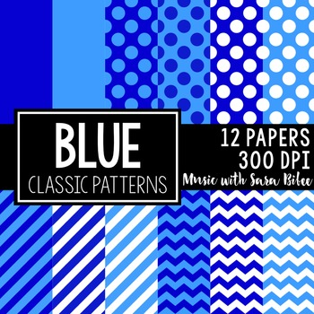 Blue Classic Designs- 12 Digital Papers