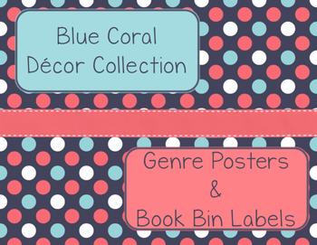 Blue Coral Decor: Genre Posters & Book Bin Labels