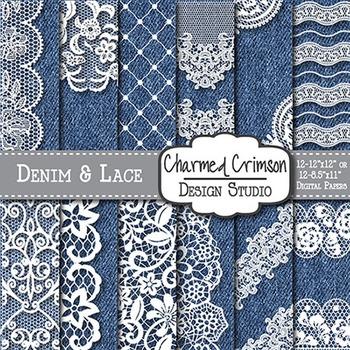 Blue Denim and White Lace Digital Paper 1478