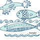 Blue Fish ClipArt, Nautical Clip Art,  Ocean Waves, Sea Li