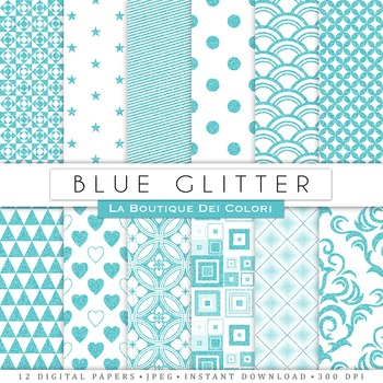 Blue Glitter Digital Paper, scrapbook backgrounds.