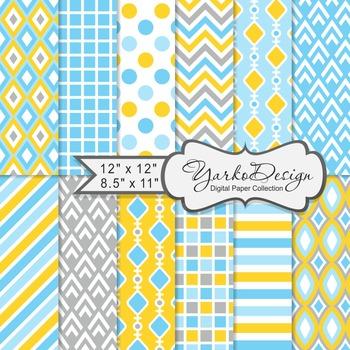Blue Gray And Yellow Geometric Digital Paper Set, 12 Digit
