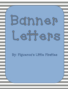 Blue Gray and White Striped Banner Bulletin Board Letters Freebie