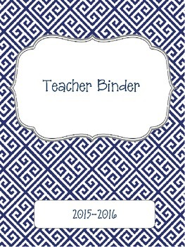 Blue Greek Key 2015-2016 Teacher Binder Planner