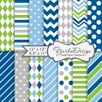 Blue Green And Gray Geometric Digital Paper Set, 14 Digita