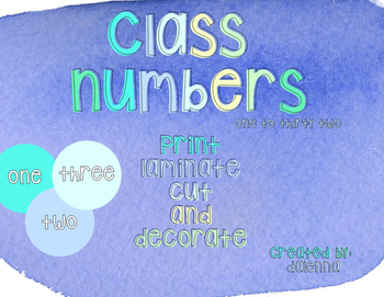 Blue Green Brights Class Number Labels