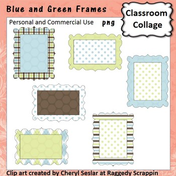 Blue Green Brown Frames or Labels Clip Art Color  pers & c