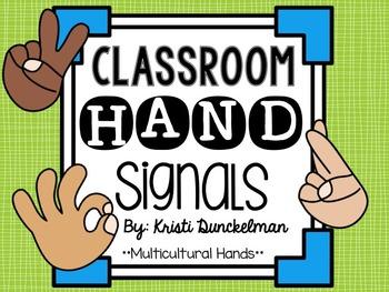 Blue & Green Classroom Hand Signals--Multicultural Hands