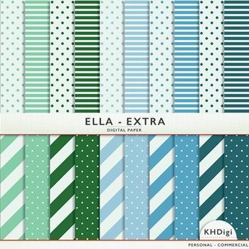 """Blue & Green Digital Paper - """"Ella Extra"""""""