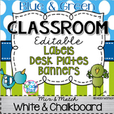 Blue & Green Editable Labels, Desk Plates & Banner: Mix & Match