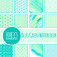 Blue Green Watercolor Backgrounds / Digital Papers Clip Ar