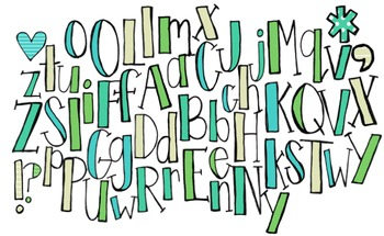 Blue/ Green/ Yellow Solid Letters -MadeForSecondGrade