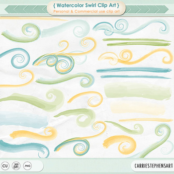 Blue, Green & Yellow Watercolor Swirls, Painted Flourish Clip Art