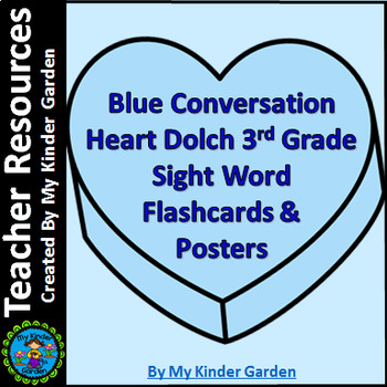 Blue Heart Dolch Third Grade Sight Word Posters and Flashcards