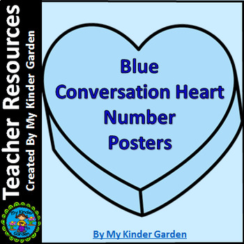 Blue Heart Full Page Number Posters 0-100