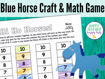 Blue Horse Craft & Math Game: Pre-K, Transitional Kinder,