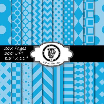 Blue / Light blue paper pack - Commercial Use OK!