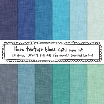 Blue Linen Texture Digital Paper, Winter Linen Digital Pap