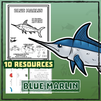 Blue Marlin -- 10 Resources -- Coloring Pages, Reading & A
