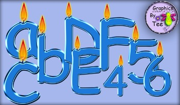 Blue Metallic Flamed Letters and Numbers