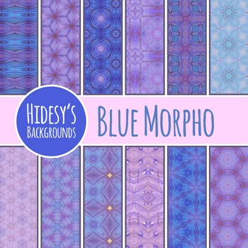 Blue Morpho Backgrounds / Digital Papers / Patterns Clip A