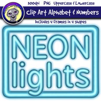 Blue Neon Lights Clipart Letters & Frames