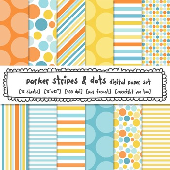 Blue, Orange and Yellow Digital Paper, Polka Dots and Stri